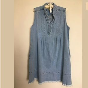 Oversized denim chambray shift dress M/L